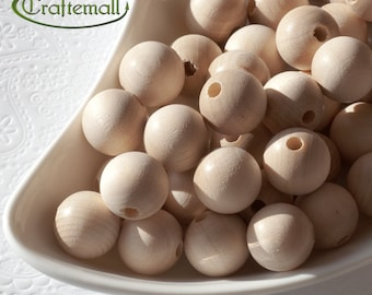 SALE: Wooden Beads for Decoupage or Painting - 16mm Round - 20 Beads