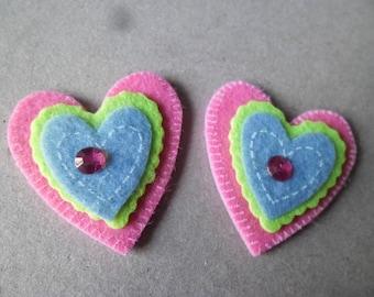 x 2 embellishments stickers 3D patterned felt 4.2 Rhinestone Heart x 3.8 cm
