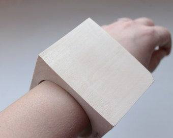 70 mm BIG Wooden square bangle unfinished - natural eco friendly - Linden tree