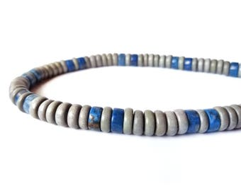 Men's Jewelry - grey and blue necklace for men - wood and lapis lazuli - Cadet Blue
