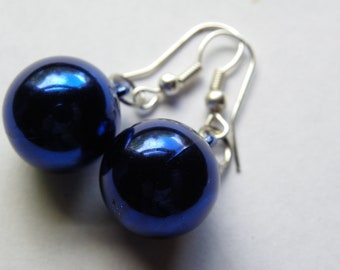 Dangle Blue Ball Earrings  #526