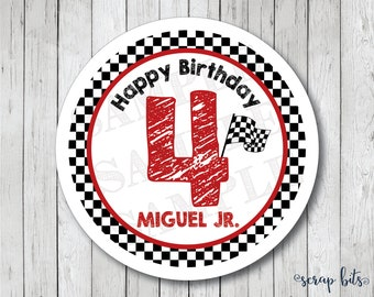 Personalized Racing Theme Birthday Number Stickers, Race Car Party, Racing Party Favor Tags, Racing Birthday Tags