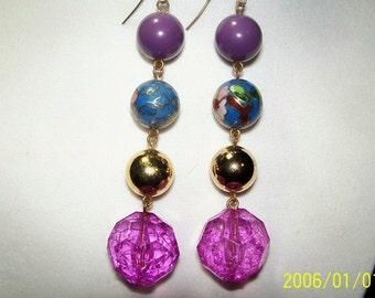 Purple Flowers Earrings