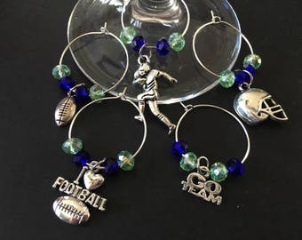 SEATTLE SEAHAWKS Colored Football Wine Charms - Set of 5