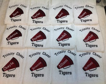 Cheerleading, cheer gift, Megaphone, personalized towel, embroidery, any colors,