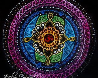 "Canvas ""Mandala Chakras"" - New Age - Rainbow - multicolored - abstract"