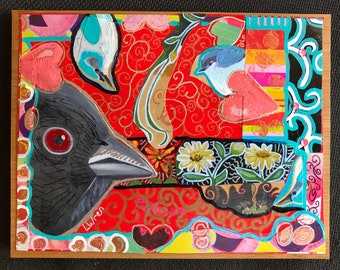 Mixed Media Collage Curious Birds