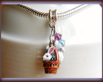 Easter Charm,European Charm, Hand Painted, Rabbit Charm, Easter Bunny Charm, Unique, Gift for Women, Czech Crystal Beads,  Color,