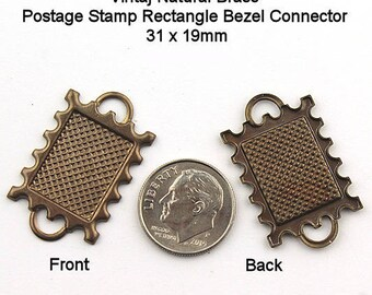 Vintaj Natural Brass Postage Stamp Rectangle Bezel Connector, Bracelet Findings, Bracelet Connector