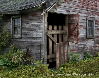 Dutch Split Door on a Rustic Weathered Red Barn