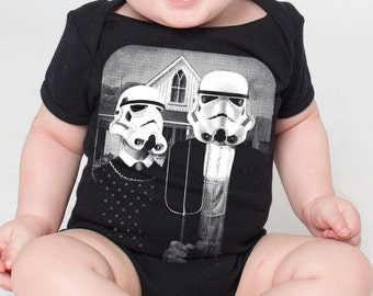 baby infant onesie Star Wars American Gothic- American Apparel black- 3-18 months available- Worldwide shipping
