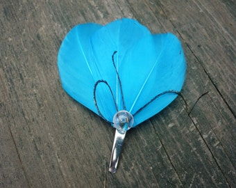 Small Blue Feather Fascinator