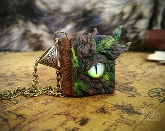 Nature Dragon journal - green dragon's eye necklace, little leather book, miniature wearable notebook, handmade glass eye jewelry