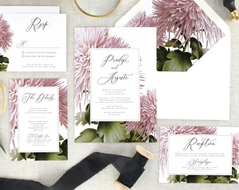 Pink Floral Wedding Invitation Suite - Botanical Wedding Invitations Printed Wedding Invites - Purple Wedding Invitation Set - Set of 10
