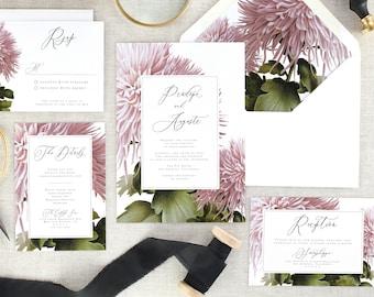 Pink Floral Wedding Invitation Suite - Botanical Wedding Invitations Printed Wedding Invites - Purple Wedding Invitation Set - Set of 10