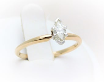 Marquise-Cut Diamond Solitaire Engagement Ring