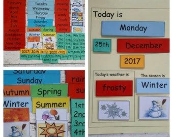 Montessori Calendar, Perpetual calendar for children, teaching calendar, interactive teaching resource, children's calendar, seasons