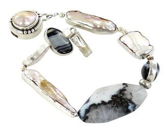 RIMMED PEARL BANDED Agate Sterling Bracelet NewWorldGems