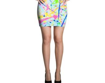 80s Clothing Neon Paint Splatter Rainbow Mini Skirt Retro 80s Splatter Paint Festival Clothing Rave Clothing Burning Man Vintage Dance