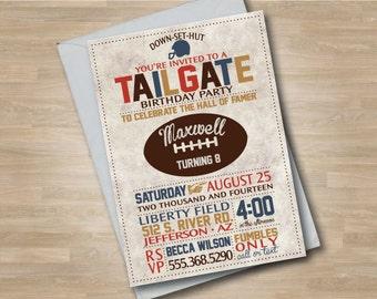 Football Birthday Invitation, Super Bowl Football Invite, Sports Birthday, Vintage Style