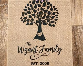 Family Tree Custom Burlap Flag - 12x18