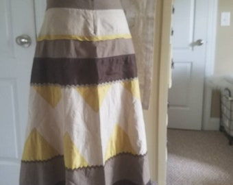 SALE Vintage BOHO IDSA & Co Patch Work Skirt Size 6 Brown and Gold Yellow