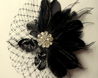 Wedding Hair Clip, Black  Fascinator,Black Feather Headband, Feather Hair Clip, Bridal Accessories, Wedding Accessories, Gifts for Her lace