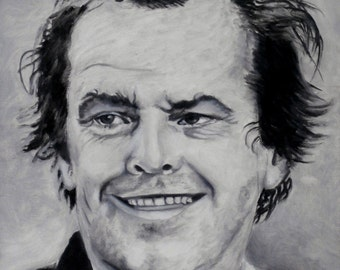Portrait of Jack Nicholson original oil painting from the black and white