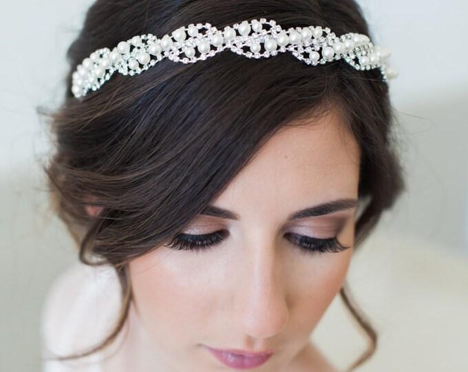 Pearl Bridal Headband, Bridal Crystal Headband, Pearl Wedding Headband, Art Deco Headband, Silver Crystal Bridal Headband, Crystal Headpiece