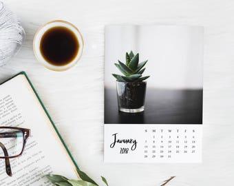 2018 Photo Calendar, Succulents, Monthly Calendar, Plant Desk Calendar, Printable Calendar Pages, Downloadable Wall Calendar