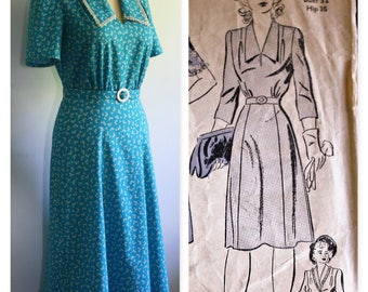 1940's Vintage Reproduction Cotton Dress, Bust 36""