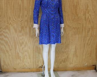 Vintage 1970's Poly Blue Dot Brass Button Dolly Collar Mini Dress Medium
