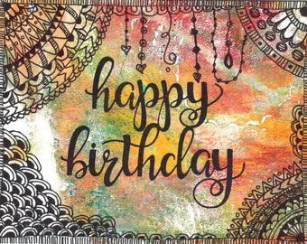 Happy Birthday Zentangle Card//Handmade Card