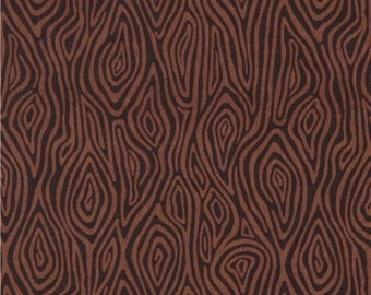 206902 dark brown wood pattern Robert Kaufman fabric Burly Beavers