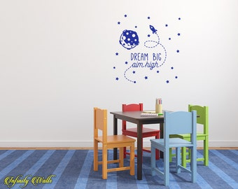 Dream Big, Aim High Decal - Dream Big Wall Decal - Wall decal quote - Playroom  Decor - Inspirational Quote Decal - Aim high decal
