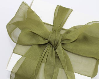 "Olive Green Ribbon. 3"" Wide Ribbon. Hand Torn and Frayed Olive Chiffon Ribbon. 3 Meter Lengths. Wedding Bouquet Ribbons. Olive Baby Shower"