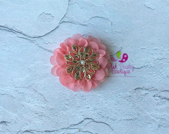 Coral Hair Clip - Baby Alligator Hair Clips - Flower Clip Set - Itty Bitty Bows - Baby Hair Accessories