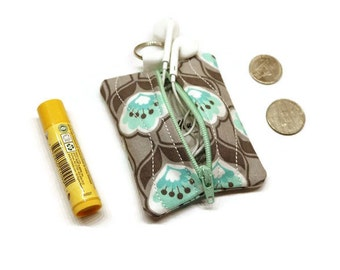 Mint and gray mini zippered pouch key chain. Earbuds holder case. Coin purse.Change bag.  Stocking stuffer. 10 dollar gift.
