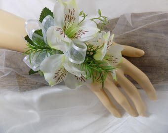 Wrist Corsage - White Alstroemeria Silk Flower Corsage - Floral Corsage - Mother of the Bride Corsage - Prom Corsage