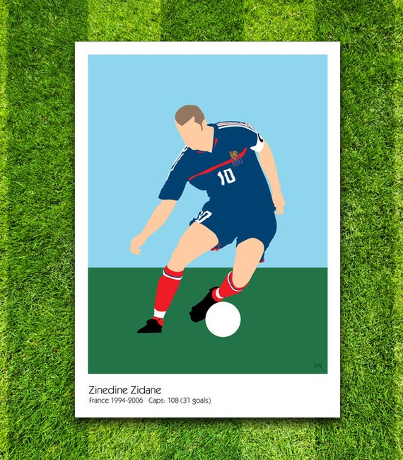 Zinedine Zidane // France // Football // Soccer // Minimalist Poster // Unique Art Print