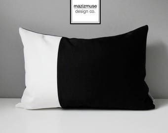 Decorative Black & White Outdoor Pillow Cover, Modern Sunbrella Pillow Cover, Color Block Pillow Cover, Cushion Cover, Mazizmuse