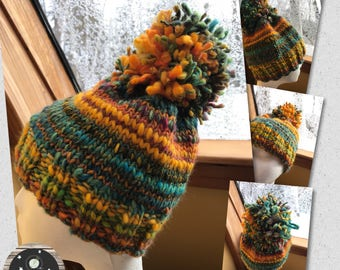Hand Knit Festive Color Pop Winter Fashion Hat with Extra Large PomPom Soft Warm