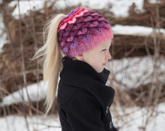 NEW - Crocodile Stitch Messy Bun Ponytail or Closed Hat (Child and Adult Sizes)