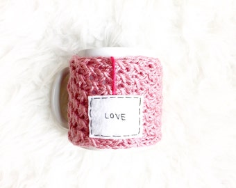 Love Custom Mug, Personalized Mug, Personalized Coffee Mug Cozy, Personalized Gift Idea, Pink Knit Mug Cozy, Personalized Gifts for Her