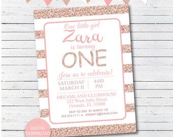 Rose Gold Birthday Invitation, Personalized First Birthday Party Invite, Pink and Rose Gold Glitter Invite, Printable Invite, Digital