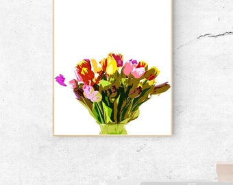 WATERCOLOR - Flowers Tulips- Digital Wall Art