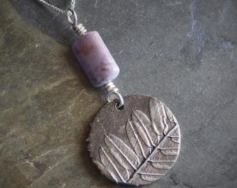 Botanical Necklace, Plant Pendant, Lead Plant Necklace, Leaf Pendant, Silver Necklace, Jasper Gemstone, Kansas Prairie Necklace, Stability