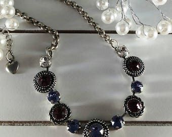 New: TANZIAMETHYST Centerpiece Necklace. Amethyst and Tanzenite Crystals. Beautiful Rope Casting Elements. Mixed Crystals. Rich Looking!