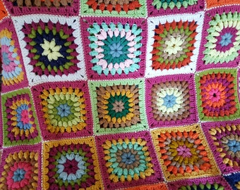 Afghan, super cool retro colors granny square crocheted afghan throw