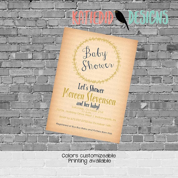 surprise gender reveal rustic baby girl shower invitation kraft paper rustic chic co-ed baby shower laurel wreath two moms Katiedid Designs